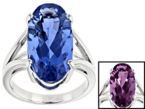 Blue color change fluorite rhodium over silver ring 11.08ct