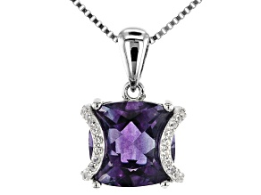 Blue Color Change Fluorite Rhodium Over Sterling Silver Pendant With Chain 4.56ctw