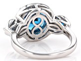 Blue lab spinel rhodium over silver ring 3.89ctw