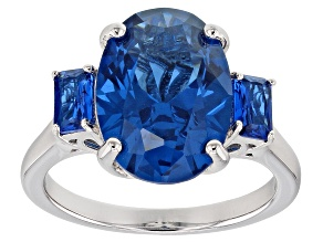 Blue lab created spinel rhodium over silver ring 6.08ctw
