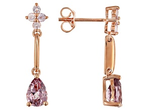 Color shift garnet 18k rose gold over silver earrings 1.76ctw