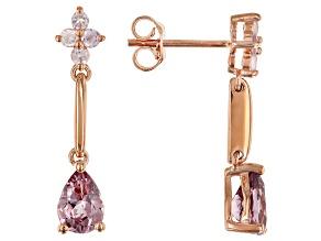 Color shift garnet 18k rose gold over silver earrings 1.76ctw