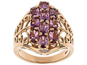 Blush Color Garnet 18k Rose Gold Over Silver Ring 2.47ctw