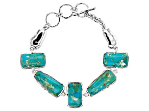 Blue Turquoise in Matrix Rhodium Over Silver Bracelet