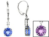 Blue color change fluorite rhodium over silver earrings 4.30ctw