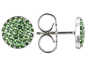 Green tsavorite silver earrings .83ctw
