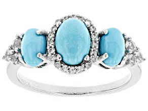 Blue turquoise sterling silver ring .40ctw