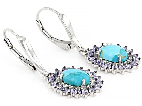 Blue turquoise Sterling Silver Dangle Earrings 1.45ctw