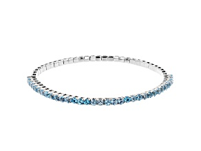 Blue topaz rhodium over silver bracelet 4.40ctw