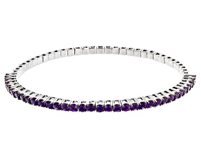 Purple amethyst rhodium over silver stretch bracelet 3.40ctw