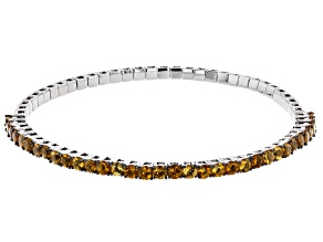 Yellow citrine rhodium over  silver stretch bracelet 3.40ctw
