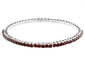 Red garnet rhodium over silver stretch bracelet 4.40ctw