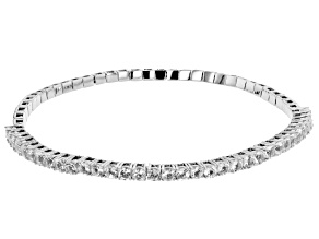 White topaz rhodium over silver stretch bracelet