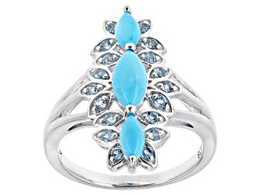 Blue turquoise rhodium over silver ring .30ctw
