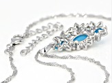 Blue turquoise rhodium over silver pendant with chain .30ctw