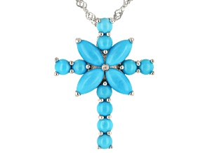 Blue turquoise rhodium over silver cross pendant with chain .01ct
