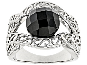 Black spinel rhodium over sterling silver ring 4.07ct