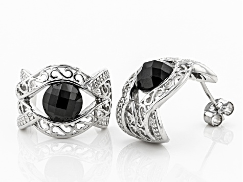 Black spinel rhodium over sterling silver earrings 3.45ctw