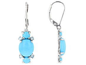 Blue turquoise rhodium over silver earrings .20ctw