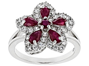 Red ruby rhodium over silver flower ring 1.83ctw