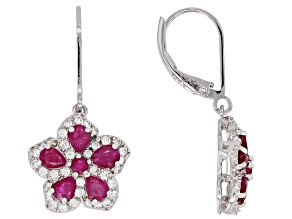Red ruby rhodium over silver earrings 2.86ctw