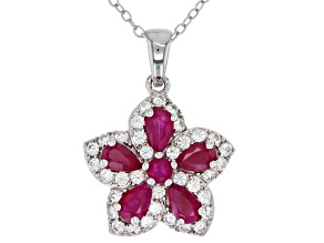 Red ruby rhodium over silver pendant with chain 2.10ctw
