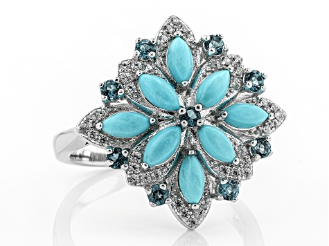 Blue turquoise rhodium over silver ring .55ctw