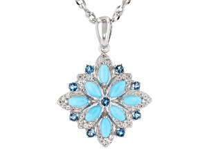 Blue turquoise rhodium over silver pendant with chain .55ctw