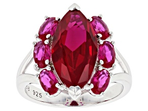 Red lab ruby rhodium over silver ring 5.61ctw