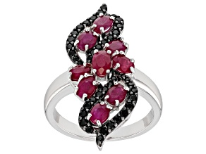 Red Burmese Ruby rhodium over silver ring 2.13ctw