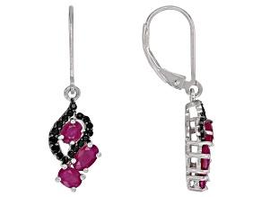 Red Burmese Ruby rhodium over silver dangle earrings 1.44ctw