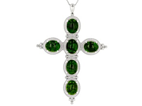 Green chrome diopside silver pendant with chain