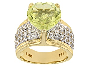 Yellow canary quartz 18k gold over silver ring 6.45ctw