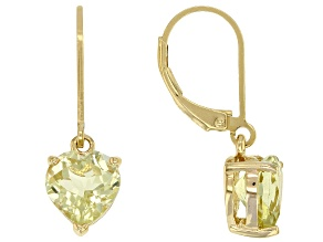 Yellow canary quartz 18k gold over silver dangle earrings 2.58ctw