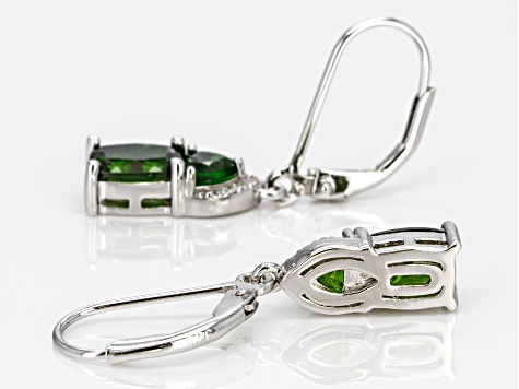 Green chrome diopside rhodium over silver earrings 2.08ctw