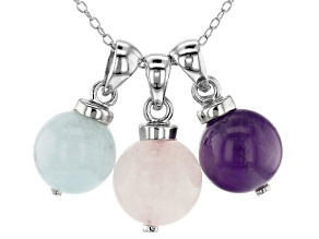 Amethyst, Rose Quartz & Milky Aquamarine Rhodium Over Silver 3 Pendants/1 Chain Set