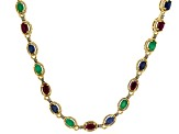 Mixed gemstones 18k gold over silver necklace 6.98ctw