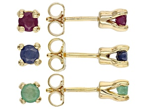 Multi-Gem 18k Gold Over Silver 3 Pairs Earrings Set 1.76ctw