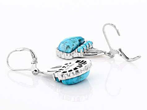 Blue Turquoise Rhodium Over Silver Earrings