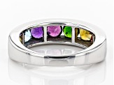 Mixed-Gem Rhodium Over Sterling Silver Ring 1.81ctw