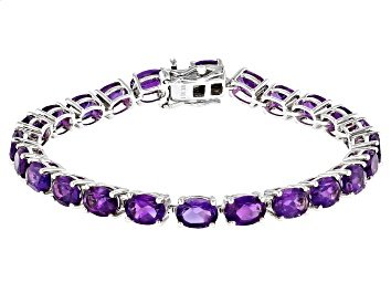 Picture of Purple Amethyst Rhodium Over Sterling Silver Tennis Bracelet 15.10ctw