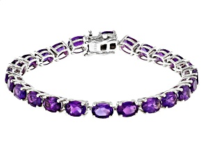 Purple Amethyst Rhodium Over Sterling Silver Tennis Bracelet 15.10ctw