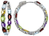Multi-color gemstone rhodium over silver earrings 10.98ctw