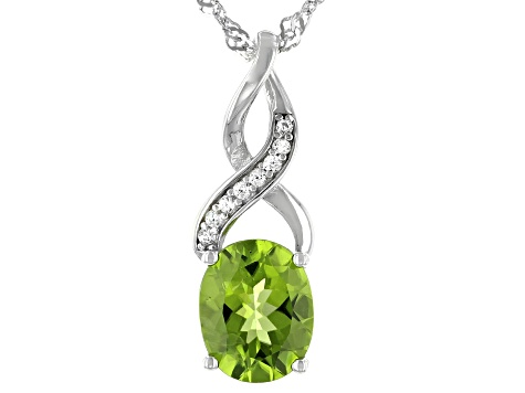 Green Peridot Rhodium Over Silver Pendant with Chain 2.50ctw