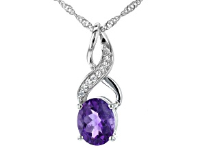 Purple Amethyst Rhodium Over Silver Pendant With Chain 2.21ctw