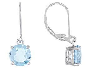 Blue Topaz Rhodium Over Silver Earrings 4.06ctw