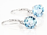 Blue Topaz Rhodium Over Silver Earrings 4.06ctw