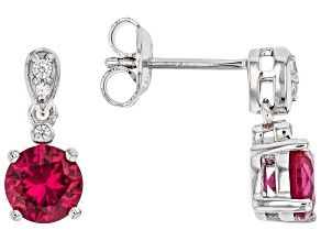 Lab Created Ruby Rhodium Over Silver Earrings 1.73ctw