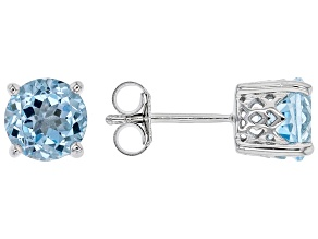 Blue Topaz Rhodium Over Sterling Silver Stud Earrings. 3.28ctw