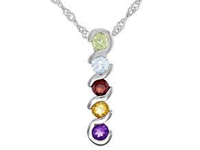 Multi-Color Stones Rhodium Over Sterling Silver Pendant Chain 0.54ctw